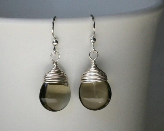 nickel free earrings for sensitive ears smoky gray smooth