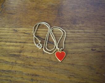 Vintage Goldtone and Red Enamel Heart Necklace