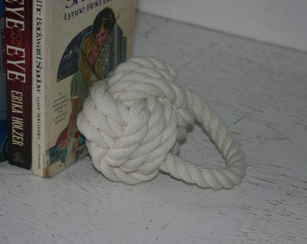Nautical Nursery Baby Room Decor Book End Door Stop Monkey Fist Hand Knotted Cotton Off White
