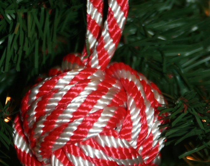 CANDY CANE Ornament Nautical Monkey Fist Knot Handmade Rope Item Made in USA