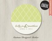 Custom Wedding Stickers - Luxury Diamond Pattern Theme