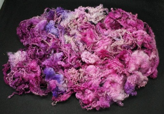 Blue Faced Leicester (BFL) lock fleece, hand painted fiber for spinning and felting, 3.5 oz, 100 % wool