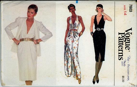 Vogue 7603 Misses 1980s Dress and Jacket Pattern Plunge Neck Blouson Bodice Evening Dress Womens Vintage Sewing Pattern Bust 36 UNCUT