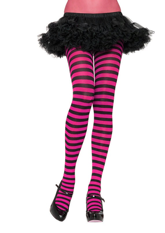Hot Pink Footless Tights with Black Stripes, One Size, But: Small/ Medium/Large recommended up to size 14