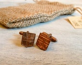 Vintage French Medals Cuff Links - City Medals - Burlap Gift Bag
