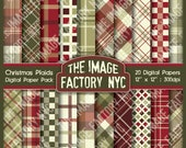 Vintage Christmas Plaid Digital Paper Pack Collection-Download and Print (TIFNYC-XMASPP-4)