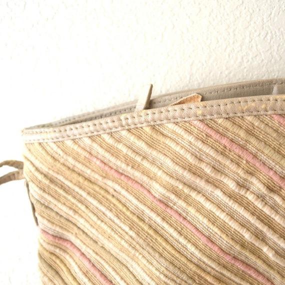Woven Beige Stripe Carpet Handbag Vintage 1980s Large with Long Shoulder Strap