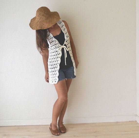 70s Long White Crochet Vest Small / Medium