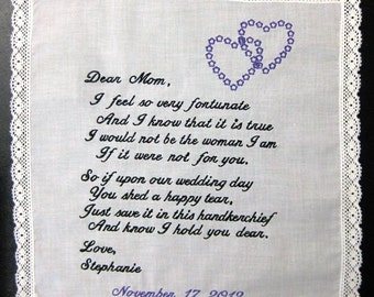 Mother of the Bride Handkerchief from Bride with Interlocking Hearts Design, Wedding date White with Crochet Border