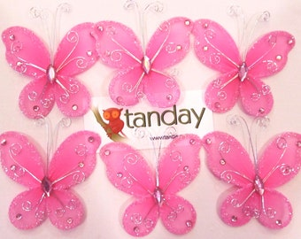 Tanday 12pcs Organza Butterfly Schocking Pink 8742