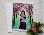 First Touch, GREETING CARD - pregnancy art, mother and children art, mother and children painting,