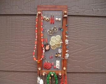 wall mounted jewelry organizer - jewelry holder - made in Montana - bubinga - African hardwood - earring screen - woodworking home decor
