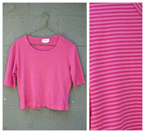 striped hot pink cropped tee M