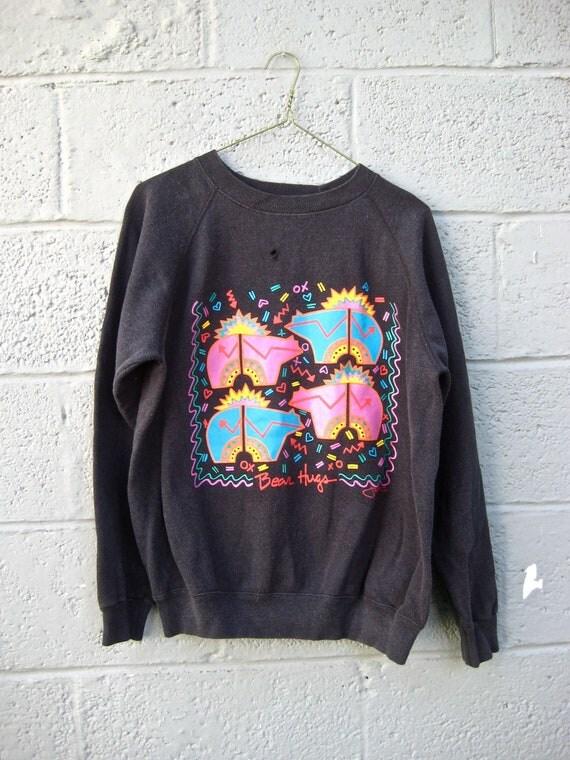 80s black and neon printed bears sweatshirt