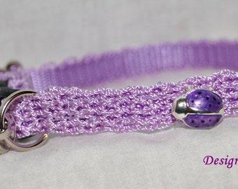 Ladybug- Lavender Cat collar w/ ladybug - lovely crochet nylon unique handmade breakaway adjustable cat collar