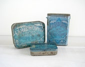 Vintage Tobacco Tins - Blue - Rustic Country Decor