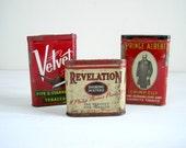 Vintage Tobacco Tins - Red Rustic Decor