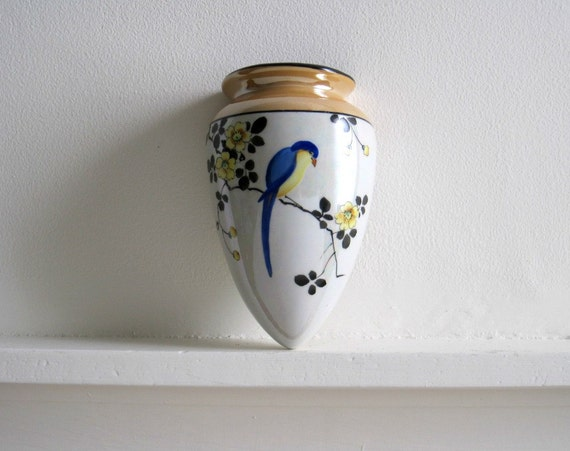 Vintage Wall Pocket Vase - Lustreware w/ Bird
