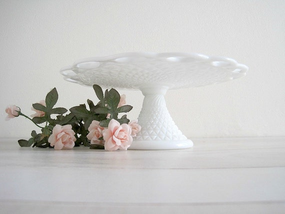 Vintage Milk Glass Pedestal Cake Stand - Lace Edge