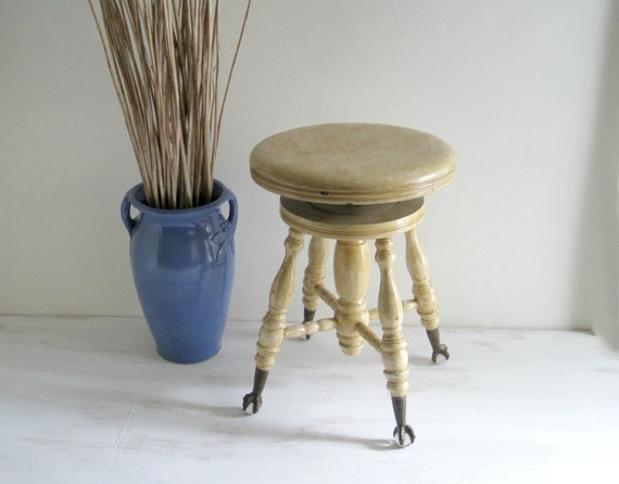 Antique Piano Stool - Shabby Cottage Chic