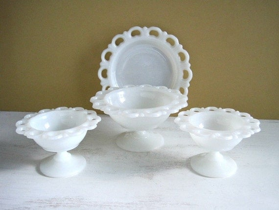 Vintage Milk Glass Collection - Lace Edge Old Colony