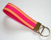 Key Fob, Key Chain, Wristlet - Sherbert Stripes on Pink