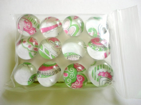 CLEARANCE - Glass Marble Push Pins - Pink and Green Fun