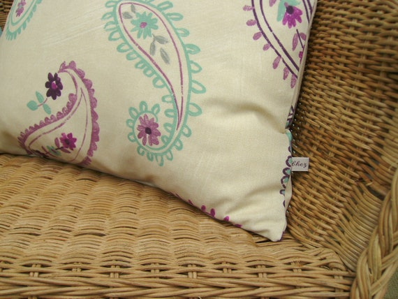 SALE - Paisley pillow cover - pastel pillow - aqua pillow - lilac pillow - decorative pillow - accent pillow