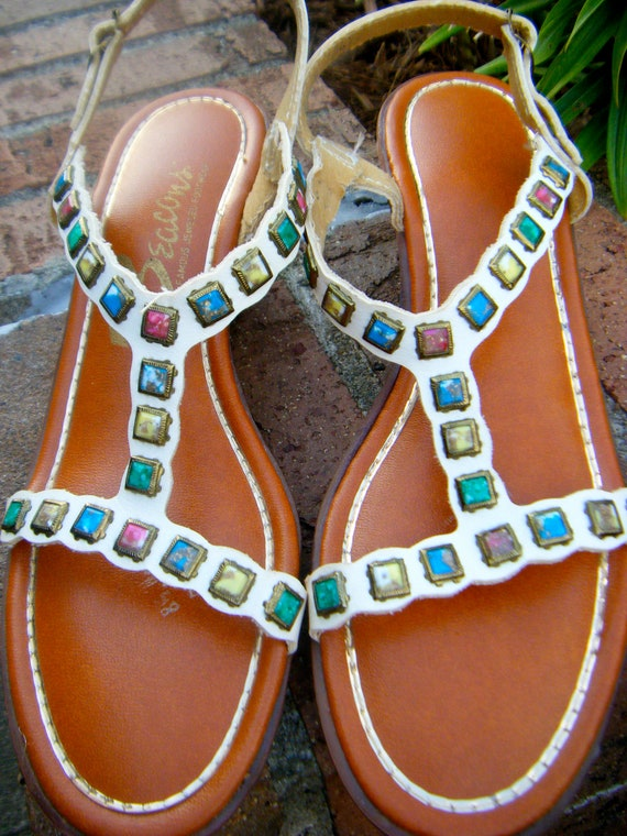 Vintage 1980s Avant Garde Jeweled Hippie Boho Wedge Sandals by Beacons