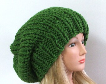 Made to Order - Chunky Knit Kelly Green Slouchy Beret Hat
