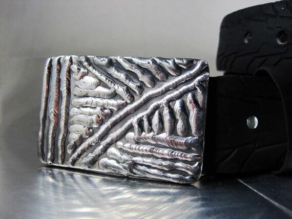 Crosshatch Belt Buckle - Stainless Steel
