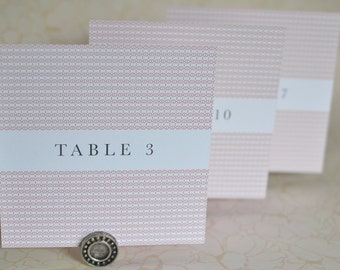 Wedding Table Cards: Woven Art Deco Table Number Displays or Table Cards for Weddings and Events