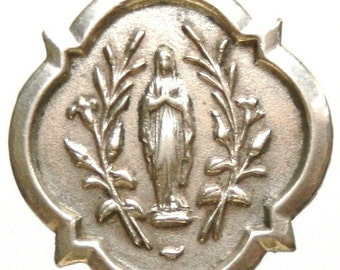 """Notre Dame of Lourdes at OOSTAKKER Vintage Jewelry Souvenir Religious Medal Pendant on 18"""" sterling rolo chain"""