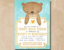 Teddy Bear Invitation Gender Neutral Birthday Invitation Teddy Picnic Bear Birthday Party Printable Digital Invite