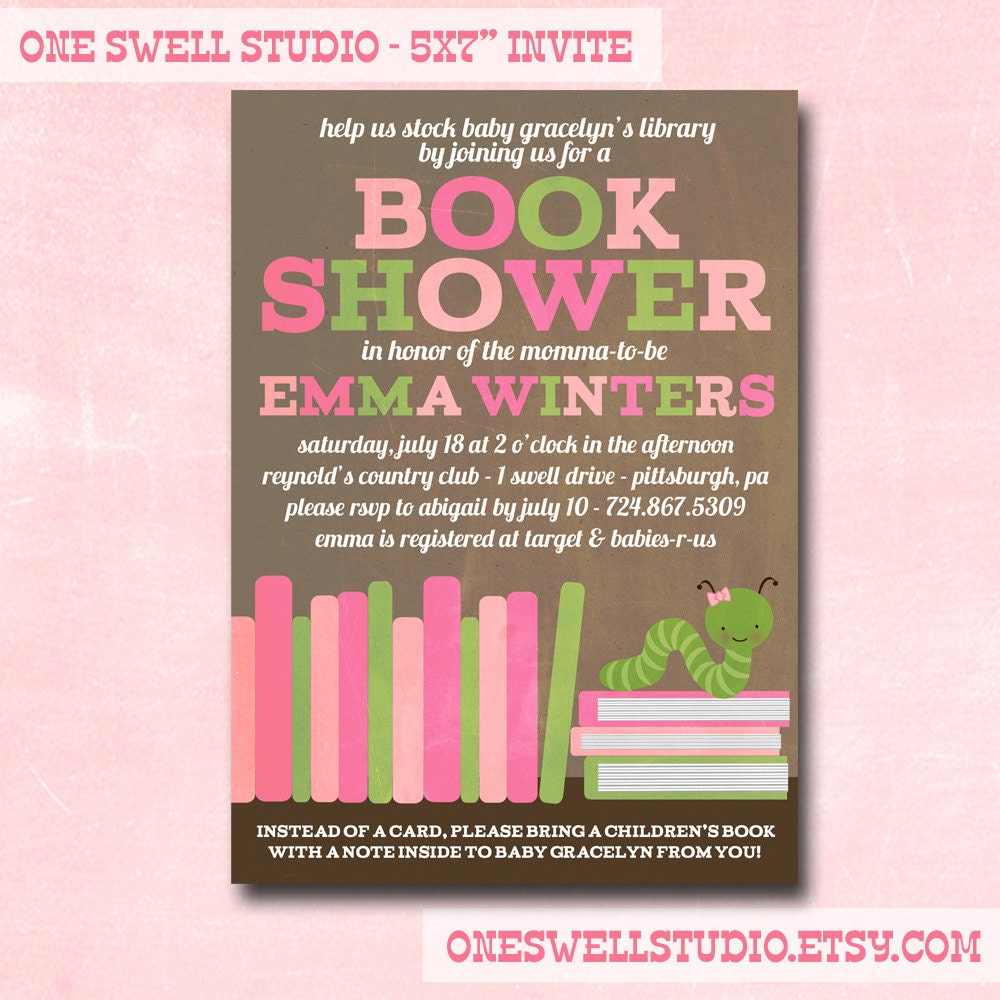 girl book shower book worm baby shower diy by oneswellstudio