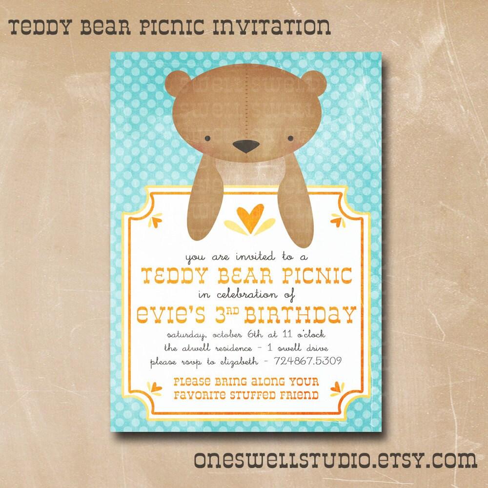 Teddy Bear Invitation Gender Neutral Birthday By