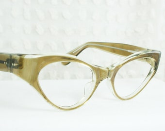 Vintage 50s Cat Eye Glasses 1950's Eyeglasses Mink Thick Wrap Around Tan Clear Frame NOS 48/22 or 48/20 Frame France