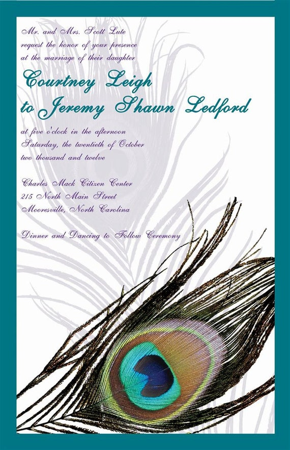Custom Listing for cled102012 - Purple and Teal Peacock Feather Invitation