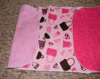 Pink and Brown Purse Burp Cloth