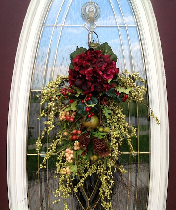 "Fall Twig Teardrop Vertical Swag Door Decor..""Nature's Charm"" One of a Kind"