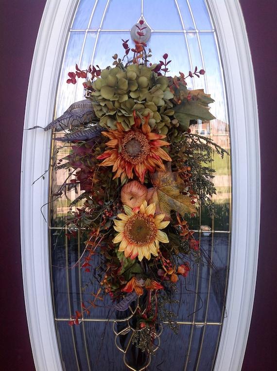 "Fall Teardrop Vertical Door Swag Decor..""Mystic Autumn"""