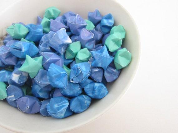 100 Aquamarine Swim Blue Origami Stars