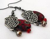 Owl Dangle Earrings in Blood Moon