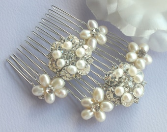 Anne-Freshwater Pearl and Rhinestone Bridal Combs ( set of 2 )