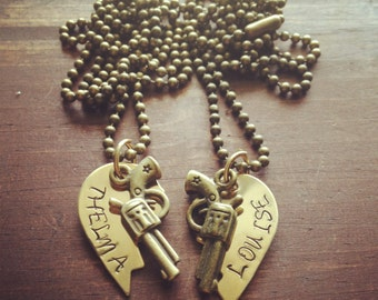 Brass Broken Hearts Stamped Thelma and Louis Attached to Brass Chains