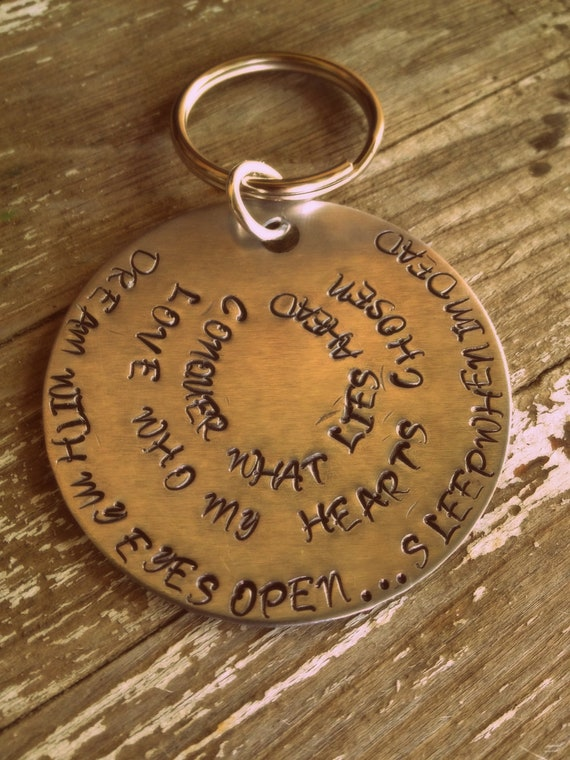 Hand Stamped Keychain with Quote From Hot Chelle Rae Singer's Tattoo