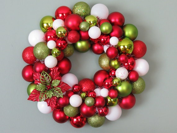 CHRISTMAS GLITTERED POINSETTIA Lime and Red Ornament Wreath