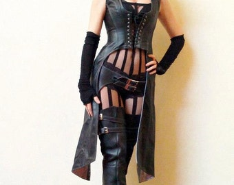 Leather Huntress Hooded Jacket
