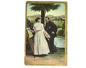 Vintage Postcard- Flirt, Flirtatious Couple, Love