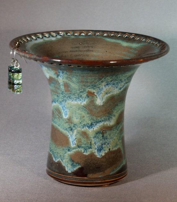 ceramic earring holder brown green blue
